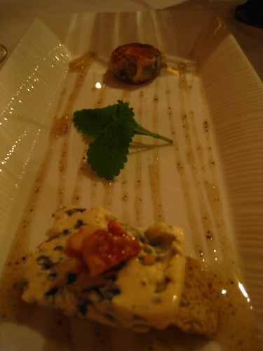 Cheese Course - Fourme d'Ambert with Walnut & Fruit Pastilla & Truffle Honey Sauce