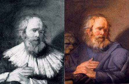 Frans Hals (Flemish, 1580-1666) St. Mark. Oil on canvas. 27 by 20 3/4 in. (68.5 by 52.5 cm). Colnaghi Gallery, Munich. Previous to restoration (Left) and after restoration (Right).