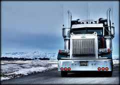 (static bob) Tags: winter snow mountains truck lights big semi idaho chrome rig hdr picnik peterbilt 379