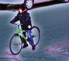 The Boy on a very cold day on his bike (Only time heals wounds) Tags: winter boy cold bike outside day very his frezzing colorsofmontralmars09