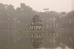 Hoan Kiem Lake (auscb) Tags: pink mist lake reflection water fog canon temple eos is asia vietnam l usm hanoi ef waterreflection hoankiemlake 24105 f4l watermirror 24105mm 50d 24105l canonef24105mmf4lisusm