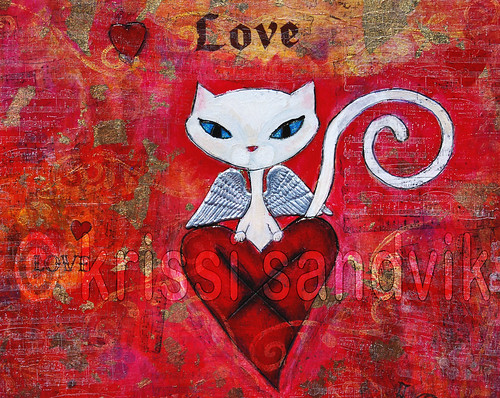 8x10 print: Lovecats (angelcat detail)