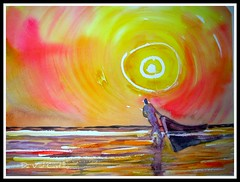 sunset and boat man (IDIAY) Tags: life sunset sea orange man watercolor atardecer boat mar trabajo playa colores vida acuarela watercolours naranja dios salud oracin parapaty