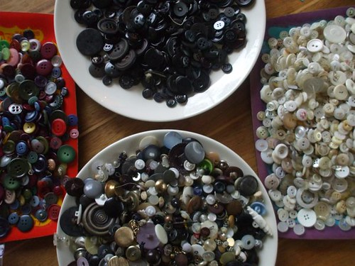 sorting through my buttons to make the bags