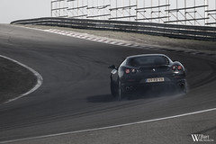 Ferrari F430 drifting (Bart Willemstein) Tags: auto bw white black detail cars netherlands car club out 1 nikon europa bart nederland automotive burn coloring april autos nikkor tamron zandvoort drift selective trackday fcn 55200 bartw autogespot