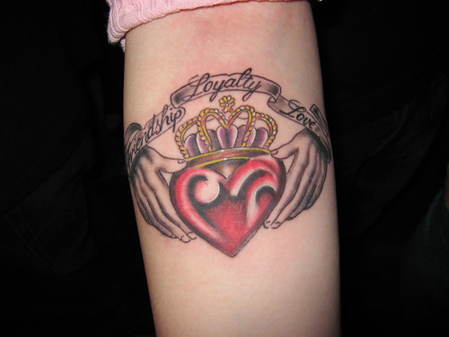 Mackenzie 39s new tattoo on her right inside forearm a Claddagh design