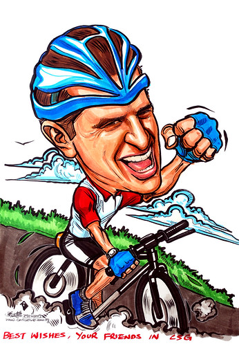 Caricature for Standard Chartered bicycle cyclist