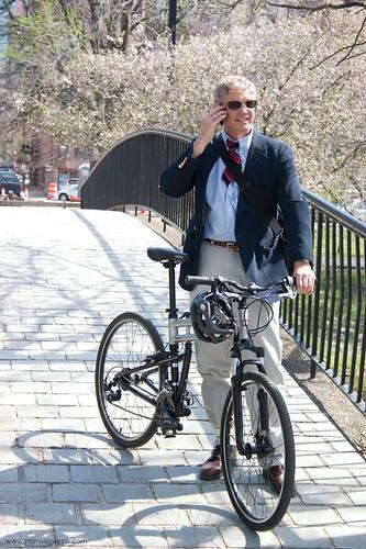 commuting home on a swissbike folding bike