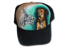 Airbrush Cap Hund (cokyone) Tags: portrait hat graffiti stencil comic mesh painted caps cartoon cap spongebob pilze truckercap tupac airbrush mtzen scarface fusball unikat derpate