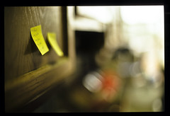 post it (patrickjoust) Tags: door usa color slr film kitchen yellow analog 35mm lens ed screw 50mm prime reflex nikon focus flickr fuji post asahi pentax takumar cabinet bokeh scanner f14 patrick maryland slide it baltimore mount note v domestic chrome f single m42 spotmatic universal manual 50 joust 35 fujichrome smc provia e6 100f reversal screwmount autaut patrickjoust