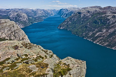 Fjord into Infinity (Jim Boud) Tags: ocean sky cliff mountain norway clouds digital canon eos rebel hike atlantic fjord hdr xsi topaz preikestolen kjerag prekestolen lysefjorden norse adjust pulpitrock 450d forsand anawesomeshot jimboud jrbxom jamesboud jamesboudphotoart gettyvacation2010
