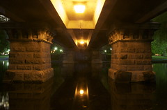 Under Bridge (drummerboy1214) Tags: bridge reflection boston spring lowlight massachusetts nightshots underneath reflectingpool backbay publicgardens publicparks 10millionphotos colorsofthenight enlightedbridge