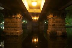 Under Bridge (drummerboy1214) Tags: bridge reflection boston spring lowlight massachusetts nightshots underneath reflectingpool backbay publicgardens publicparks 10millionphotos colorsofthenight enlightedbridge