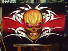 skull tribal (yan airbrush) Tags: portrait de skull photo mural guitar spiderman oeil peinture yeux moto paysage fille fe reproduction airbrush visage artiste monstre casque photorealistic cuir fantaisie tibal femmeenceinteaerograffe yanairbrush