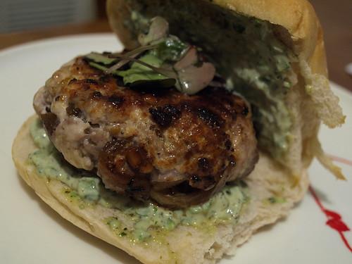 turkey burger with garlic scape mayonnaise