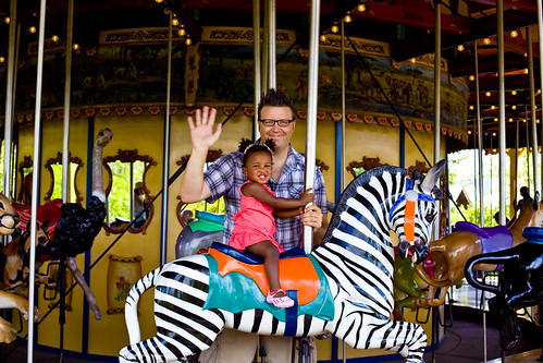 Riding the zebra with Daddy