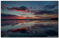 Love Is The Difficult Realisation That Something Other Than Oneself Is Real (Sam Ili) Tags: ocean morning light sea summer sky sun color reflection silhouette clouds sunrise canon bay australia symmetry nsw dri hdr ulladulla mollymook explored 450d redbubble canon1022mm3545