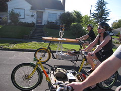 Heading out to the Epic Wheel Works Party (METROFIETS) Tags: green beer bike bicycle oregon garden portland construction paint nw box handmade steel weld coat transport craft cargo torch frame pdx custom load woodstove builder 2010 haul carfree hpm stumptown paragon chrisking shimano custombike cargobike handbuilt beerbike workbike bakfiets cycletruck rosecity crafted 4130 bikeportland braze longjohn paradiselodge seattlebikeexpo nahbs movebybike kcg phillipross bikefun obca jamienichols boxbike handmadebike oregonhandmadebikeshow hopworks metrofiets oregonmanifest matthewcaracoglia palletbike oregonframebuilder seattlebikeshow bikefarmer