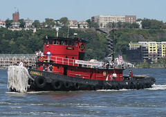 """CORNELL, ex-Lehigh Valley Railroad Tug, (""""Kingston historic Waterfront"""" banner), in Hudson River, New York (City), USA. 2008 (Tom Turner - SeaTeamImages / AirTeamImages) Tags: city nyc railroad red usa newyork classic water race port vintage river island bay coast harbor pier boat newjersey marine waterfront unitedstates harbour manhattan transport shoreline competition tire vessel spot historic parade tires passengers kingston pony shore maritime transportation pax tugboat hudsonriver cornell hudson passenger tug bigapple channel lehighvalley spotting waterway gardenstate tomturner kingstonwaterfront historickingstonwaterfront"""