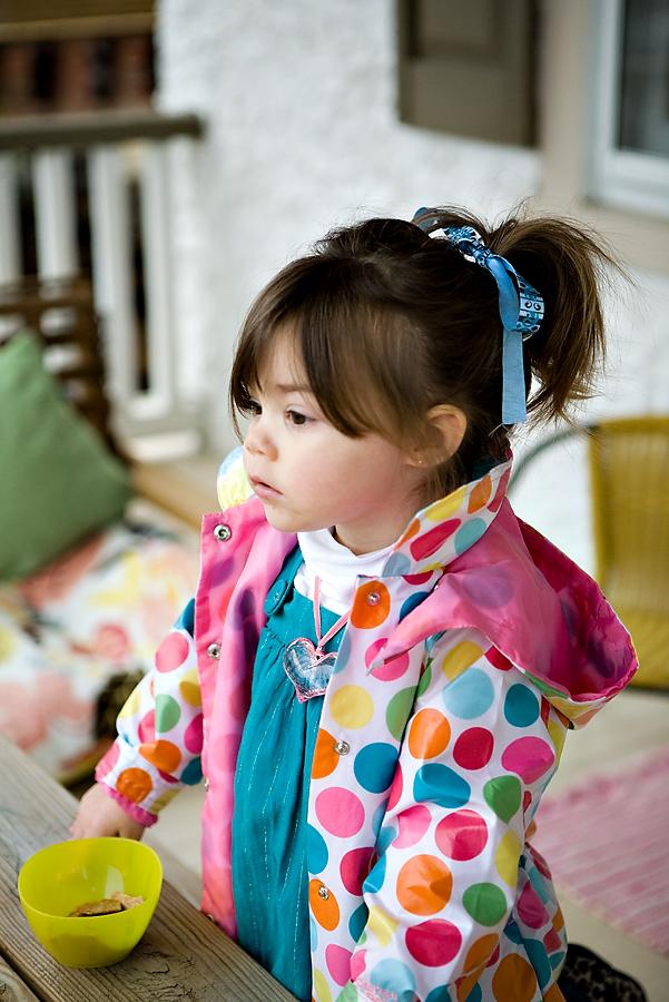 Chloe modeling her new raincoat