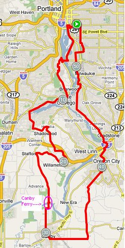Original ride map, route by Cecil