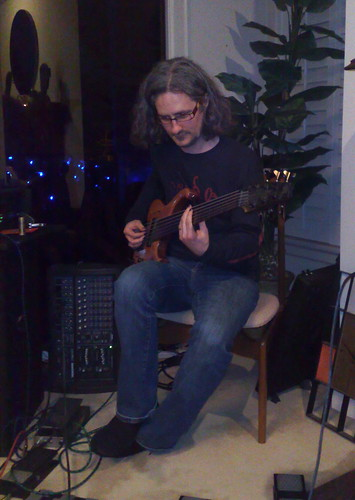 Steve Lawson at a house concert in Newport Beach