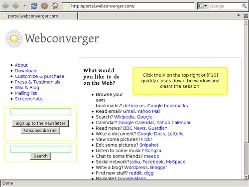 Webconverger 4.3 booted