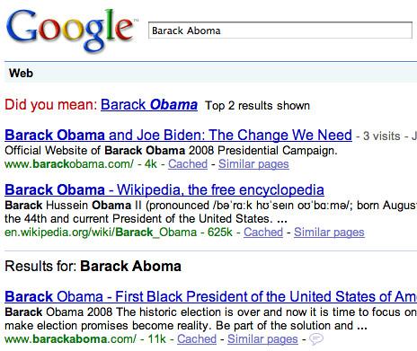 Googling Barack Aboma