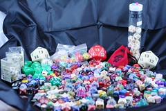 "Everything from d8s to d20s, fuge dice to percentiles and blocks of d6s or what most would call ""normal"" dice."