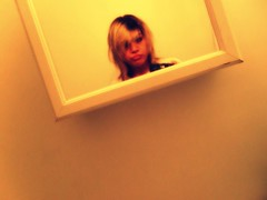 Me. (Emily0719) Tags: funnyface bathroom mirror head sleepy tired blonde messyhair hanging