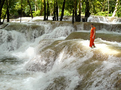 Feeling the flow of the Tad Sae waterfall (Bn) Tags: swimming laos topf100 laungprabang turquoisewater youngmonk 100faves namkhanriver naturefinest limestonesteps tadsaewaterfall numerouscascadesandpools holidayandenjoying feelingtheflow idealplaceforbathing refreshingcoolwater relaxandswim extendedponds