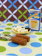 Chocolate Bar Earrings (Shay Aaron) Tags: food beer cake bread miniature oven salt earring flake stove bakery marshmallow minifood pretzel dollhouse        clayfood