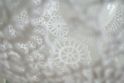 Lace lamp shade details