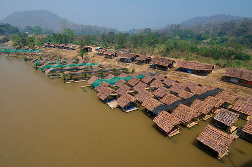 Floating restaurants on the Pai River, Mae Hong Son