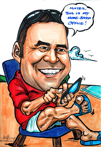 Caricature for Exxonmobil blackberry @ beach