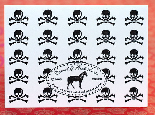 Letterpress skull cards: backside