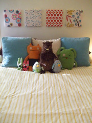 Faux Headboard (Paper Pie * Liz Scott) Tags: blue red color cute bird home yellow fun design bed bedroom mod pattern graphic turquoise sewing crafts stripe surfacedesign retro beaver fabric round uglydoll fllower spoonflower creativetypes paperpie
