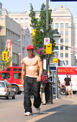 02june07004 (buzzchap) Tags: street shirtless summer hairy man hot cute sexy male men guy jock pecs muscles leather outdoors track slim pants skin baseball masculine muscle barechested muscular bare gorgeous chest ripped handsome hunk bodybuilding sneakers train