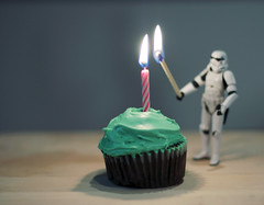 Birthday Behind-the-scenes (yo_steedgirl) Tags: birthday toy fire starwars candle cupcake stormtrooper thanksforlettingmeplaywithyourtoyskjhehehe nostormtrooperswereharmedinthemakingofthisphoto