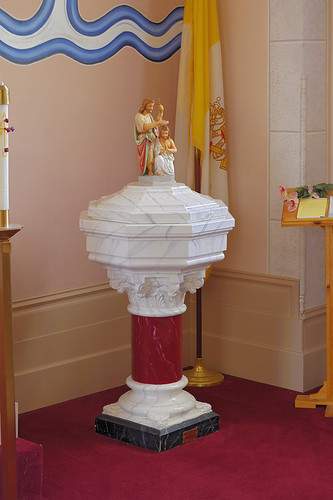 Saint Norbert Roman Catholic Church, in Hardin, Illinois, USA - baptismal font
