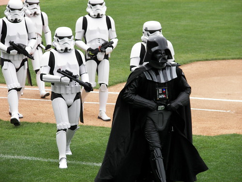 Darth Vader walking off the field after thowing out the first pitch
