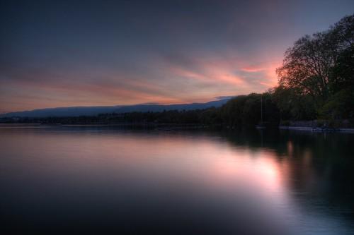 フリー画像| 自然風景| 湖の風景| 夕日/夕焼け/夕暮れ| HDR画像| スイス風景|      フリー素材|