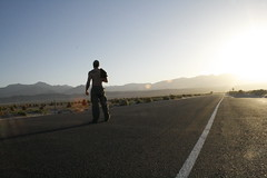 Sun Rise In Death Valley (niclazo) Tags: california road selfportrait hot me sunrise one highway alone ominous windy roadtrip line deathvalley madman theroad biway morningbeerspot deathsroad munsond