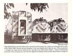 F40C 42 & 52 and Budd bilevel car, Fox Lake, IL, 1974 (mod as hell) Tags: budd 1975 emd foxlake f40c trainsmagazine