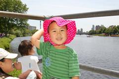 Owen trying on Aki's floppy hat