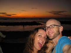 Carrie and I in front of a full moon sunrise
