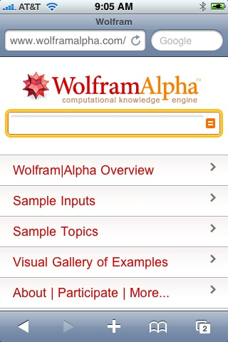 Wolfram Alpha for iPhone
