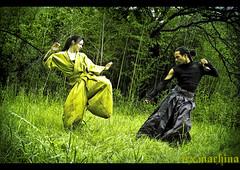 poised for greatness (Lex Machina) Tags: boy green girl fashion fight cosplay awesome grunge martialarts hakama warrior kimono samurai fighters spar sparring kickass lastwear emmymau lexmachina lmpfashion