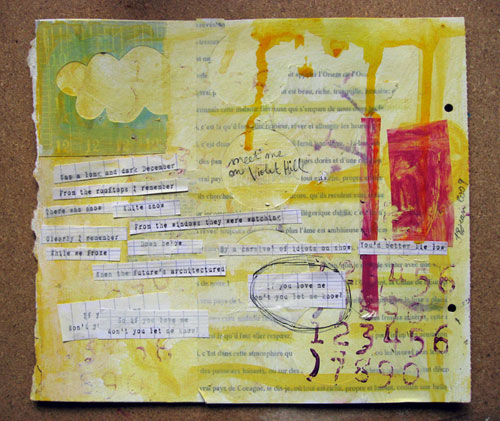 Violet Hill {art journal page}
