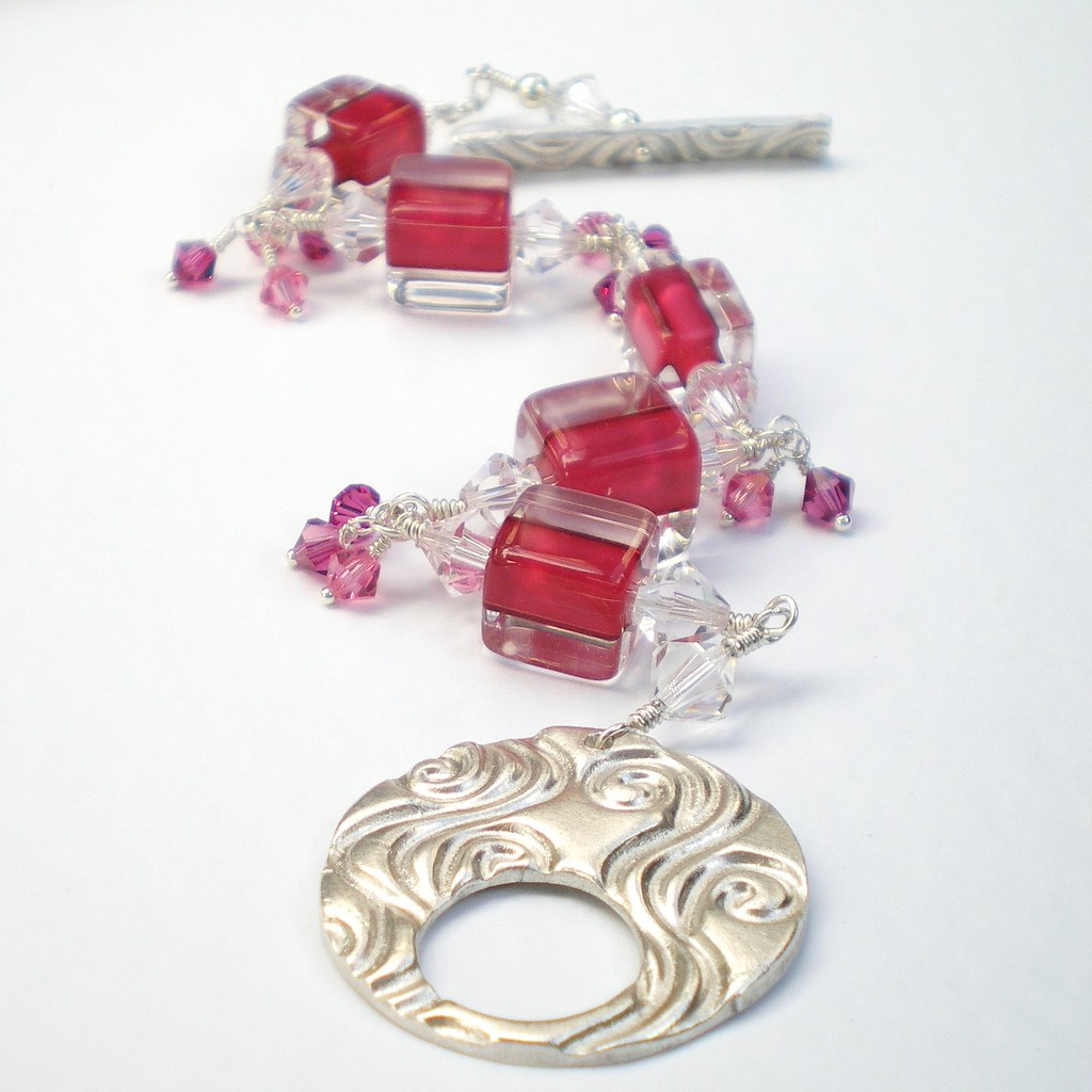 Pink Furnace Glass and Crystal Bracelet with Handcrafted Silver Clasp
